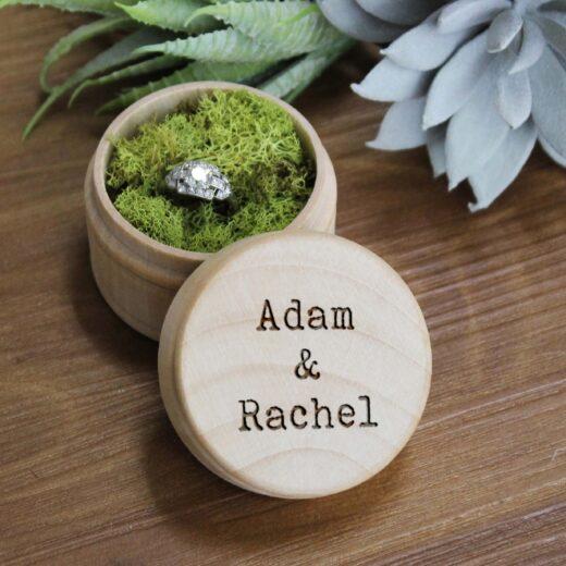Personalized Wood Ring Box | Adam & Rachel