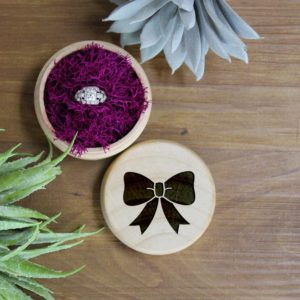 Personalized Wood Ring Box | Bow