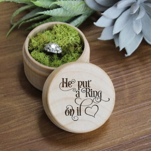 Personalized Wood Ring Box | He Put a Ring