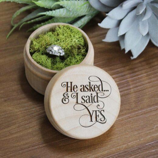 Personalized Wood Ring Box | I Said Yes
