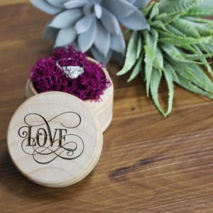 Personalized Wood Ring Box | Love