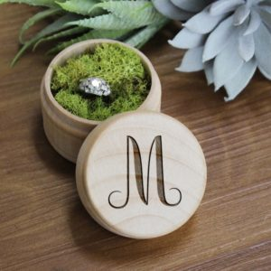 Personalized Wood Ring Box | M