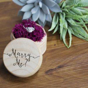 Personalized Wood Ring Box | Marry Me 1