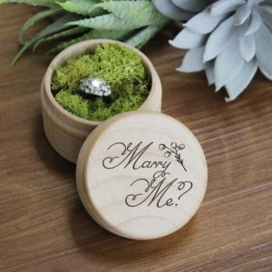Personalized Wood Ring Box | Marry Me 2
