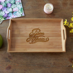 Personalized Wood Serving Tray | Bon Appetit
