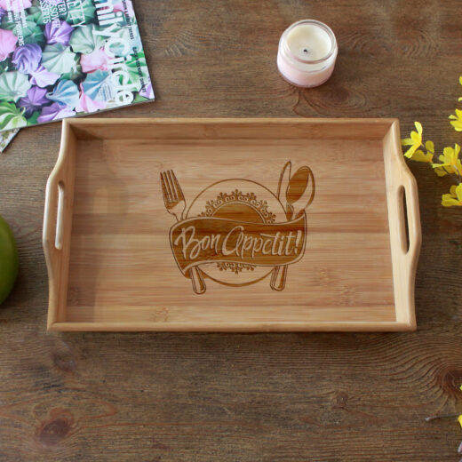 Personalized Wood Serving Tray   Bon Appetit 2