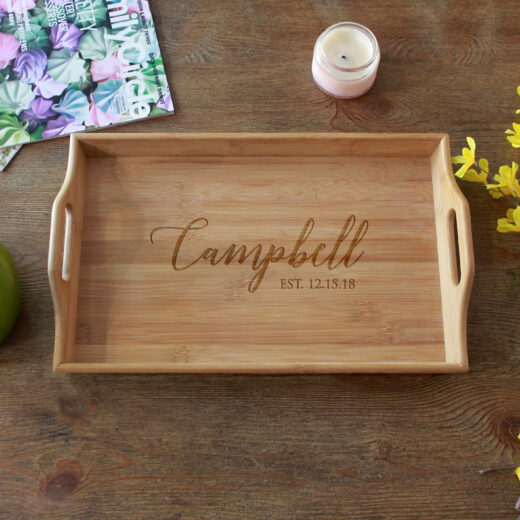 Personalized Wood Serving Tray   Campbell