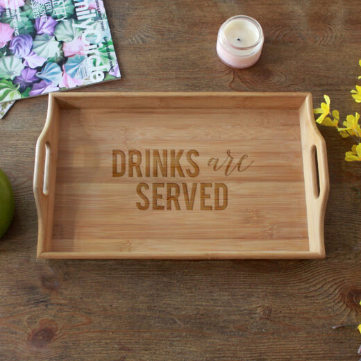 Personalized Wood Serving Tray   Drinks