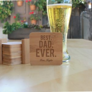 Personalized Bamboo Coasters | Best Dad Ever