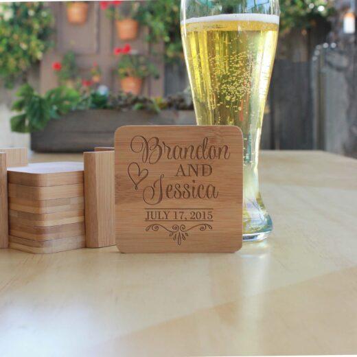 Personalized Bamboo Coasters | Brandon Jessica