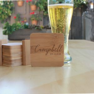 Personalized Bamboo Coasters | Campbell