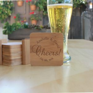 Personalized Bamboo Coasters | Cheers