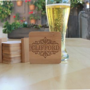 Personalized Bamboo Coasters | Clifford