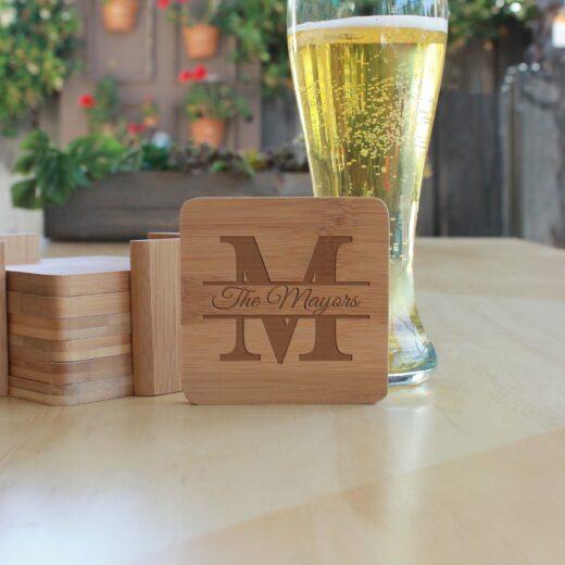 Personalized Bamboo Coasters   Mayors