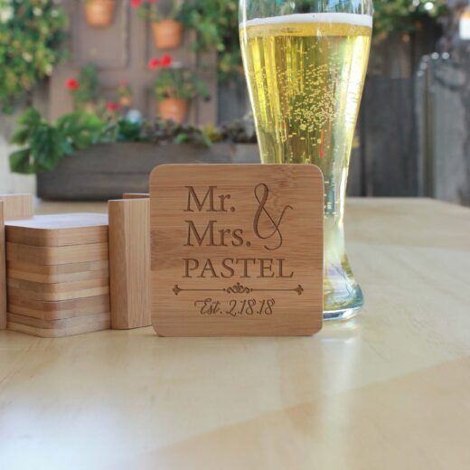 Personalized Bamboo Coasters | Pastel
