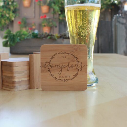 Personalized Bamboo Coasters | Thompsons