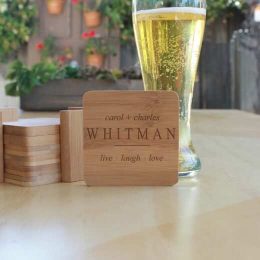 Personalized Bamboo Coasters | Whitman