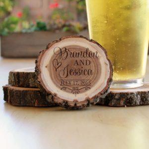 Personalized Wood Log Coasters | Brandon Jessica