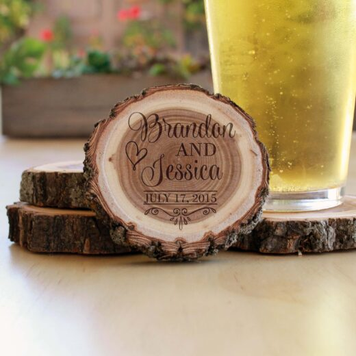 Personalized Wood Log Coasters | Brandon Jessica