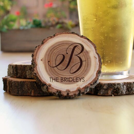 Personalized Wood Log Coasters | Bridleys