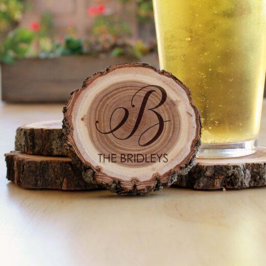 Personalized Wood Log Coasters | Bridleys