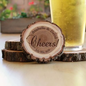 Personalized Wood Log Coasters | Cheers
