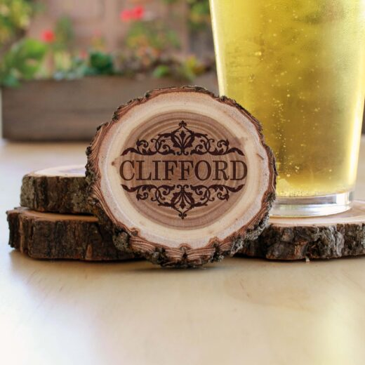 Personalized Wood Log Coasters | Clifford