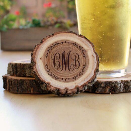 Personalized Wood Log Coasters | CMB
