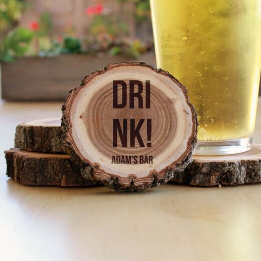 Personalized Wood Log Coasters | Drink