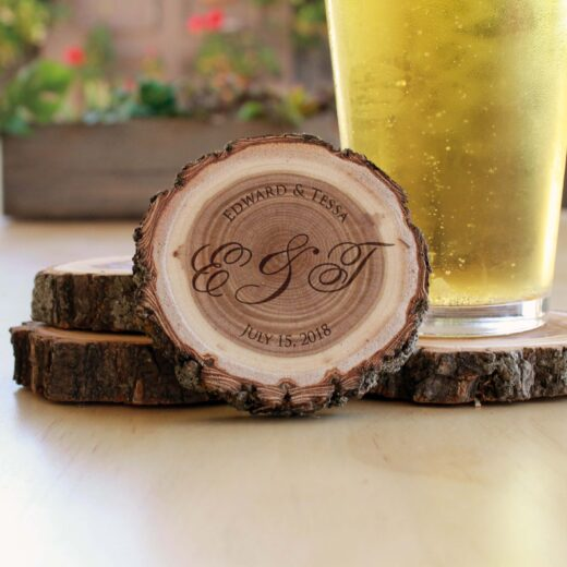 Personalized Wood Log Coasters | E & T