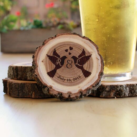 Personalized Wood Log Coasters | Love Birds