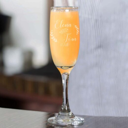Personalized Wedding Champagne Flute | Elena Tom