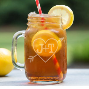 Personalized Mason Jar   Heart Initial