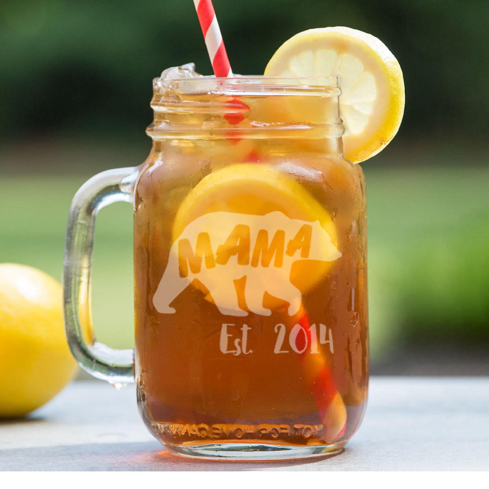 Personalized Mason Jar   Mama Bear
