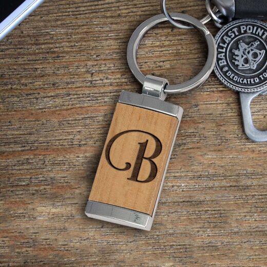 Personalized Wood Metal Key chain | B