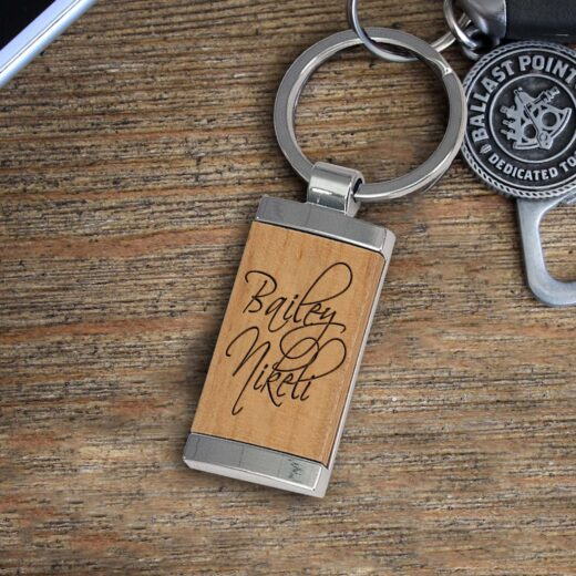 Personalized Wood Metal Key chain | Bailey