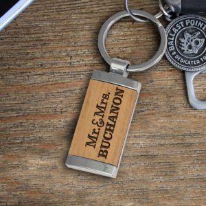 Personalized Wood Metal Key chain | Buchanon