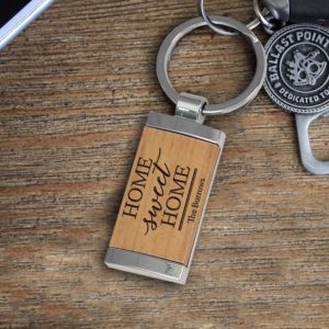 Personalized Wood Metal Key chain | Burrows