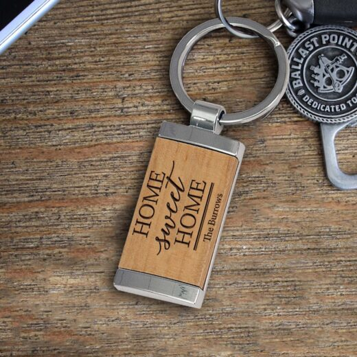 Personalized Wood Metal Key chain | Burrows