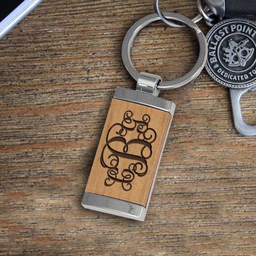 Personalized Wood Metal Key chain   CBG