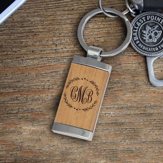 Personalized Wood Metal Key chain   CMB