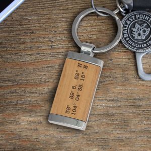 Personalized Wood Metal Key chain | Coordinates