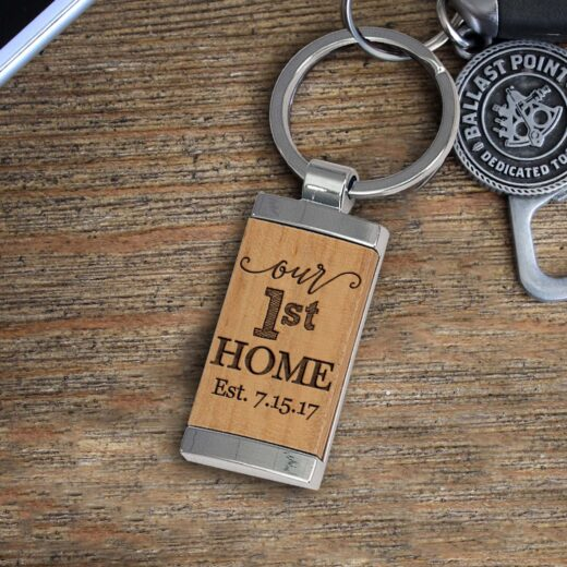 Personalized Wood Metal Key chain | First Home