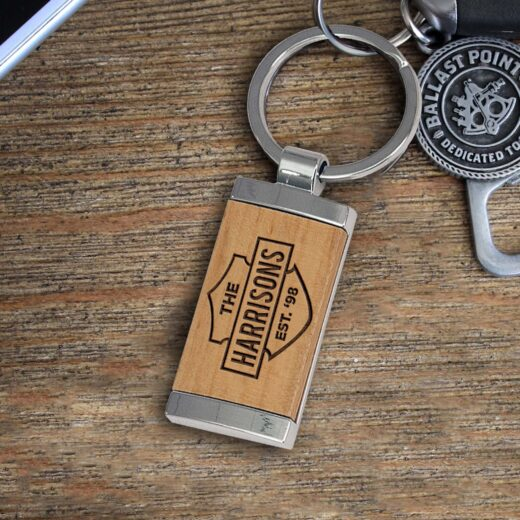 Personalized Wood Metal Key chain | Harrisons
