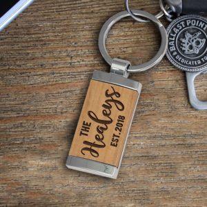 Personalized Wood Metal Key chain | Healey