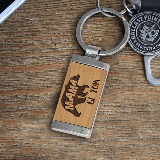 Personalized Wood Metal Key chain | Mama Bear