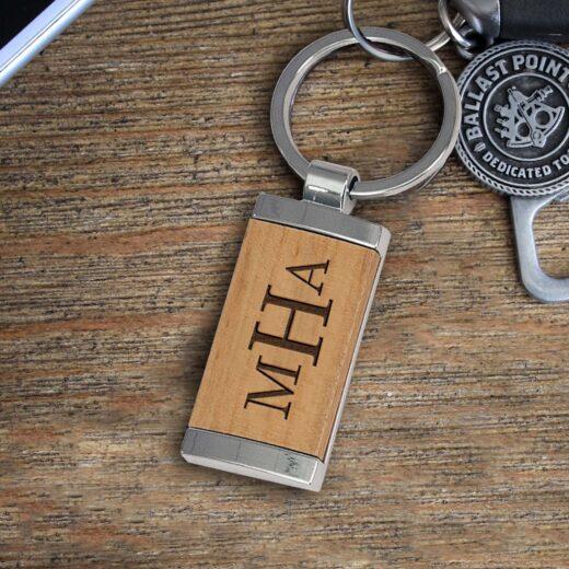 Personalized Wood Metal Key chain   MHA