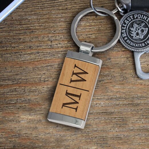 Personalized Wood Metal Key chain | MW