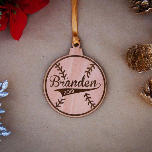 Round Wood Christmas Ornaments   Branden