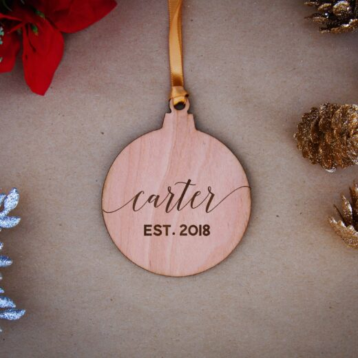 Round Wood Christmas Ornaments | Carter